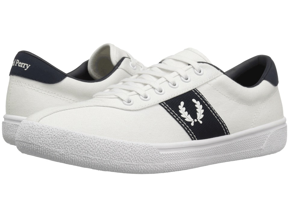 Fred Perry - Tennis Shoe 1 Canvas (Snow White/Snow White/Navy) Men's Shoes