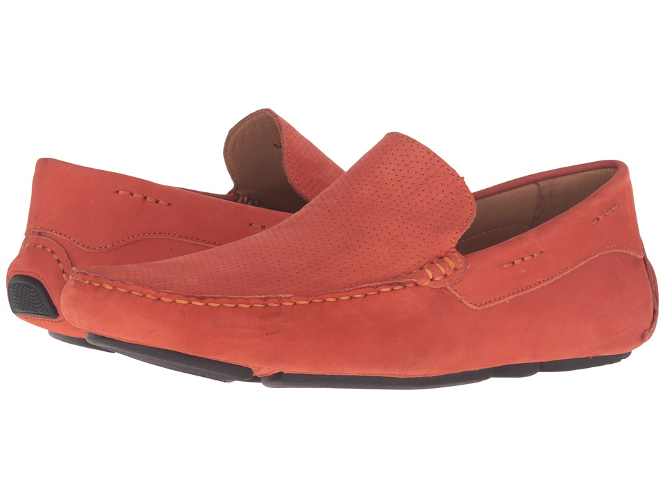 Massimo Matteo - Perf Nubuck Driver (Orange) Men's Slip on Shoes