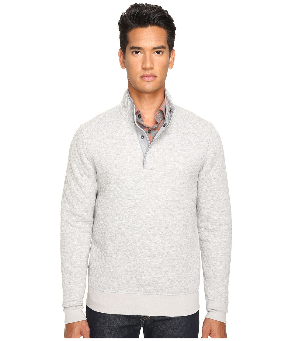 Jack Spade Quilted Mock Neck Snap Pullover (Light Grey) Men