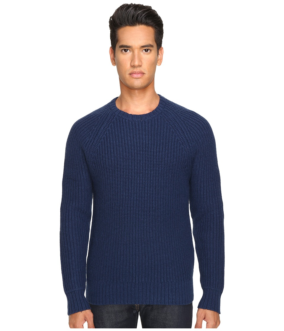 Jack Spade Shaker Stitch Ribbed Crew Neck Sweater (Dark Blue) Men