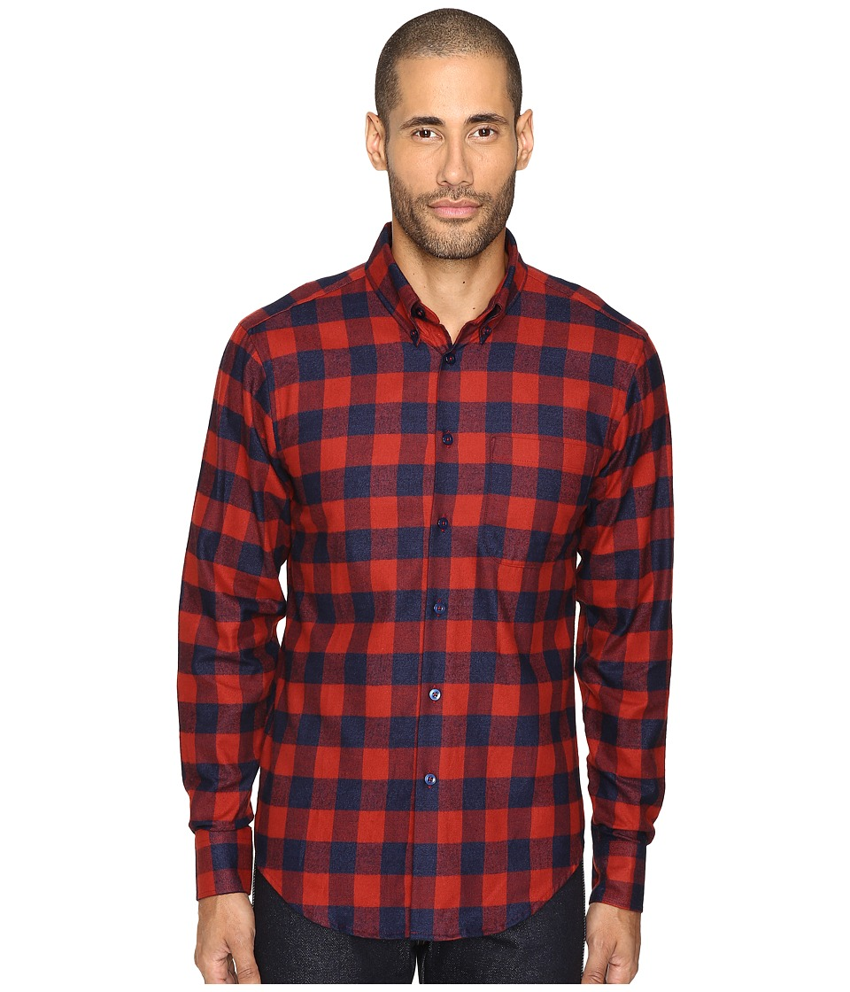 Naked & Famous - Real Indigo Buffalo Check Button Down (Red) Men's Clothing