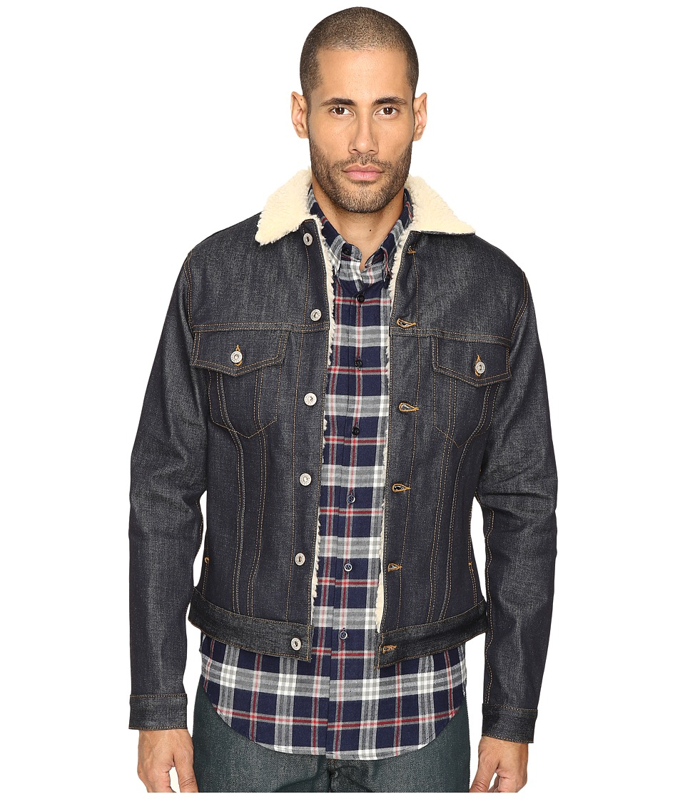 Naked & Famous - Sherpa Lined Left Hand Twill Denim Jacket (Indigo) Men's Coat