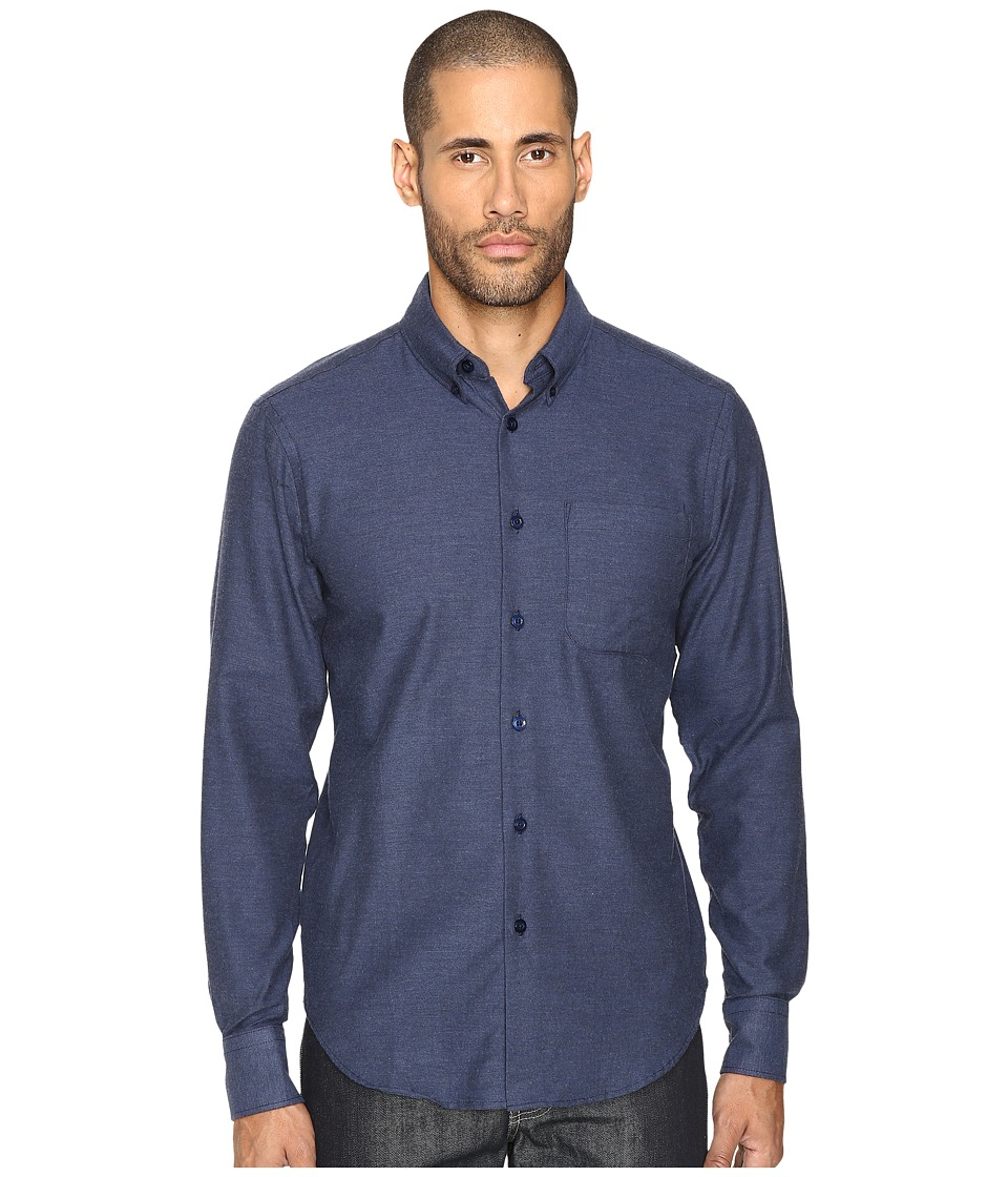 Naked & Famous - Soft Yarn-Dyed Twill Button Down (Blue) Men's Clothing