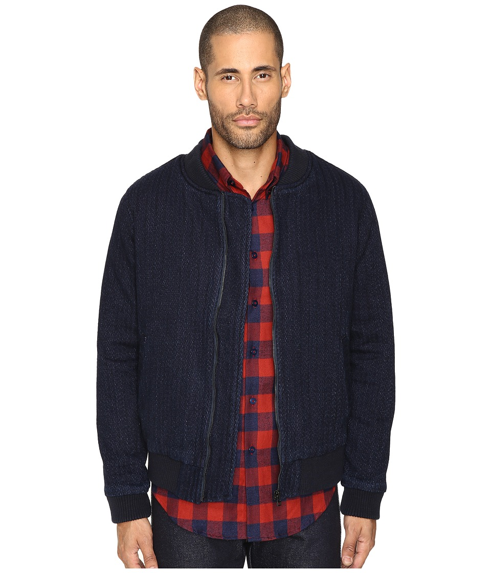 Naked & Famous - Indigo Dobby Denim Bomber (Indigo) Men's Coat