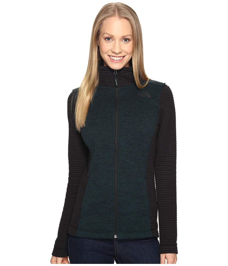 The North Face - Indi Full Zip Jacket (Darkest Spruce Heather/TNF Black (Prior Season)) Women's Coat