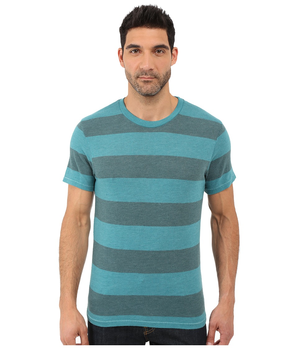 Alternative - Eco Crew T-Shirt (Aqua Teal Weathered Stripe) Men's T Shirt
