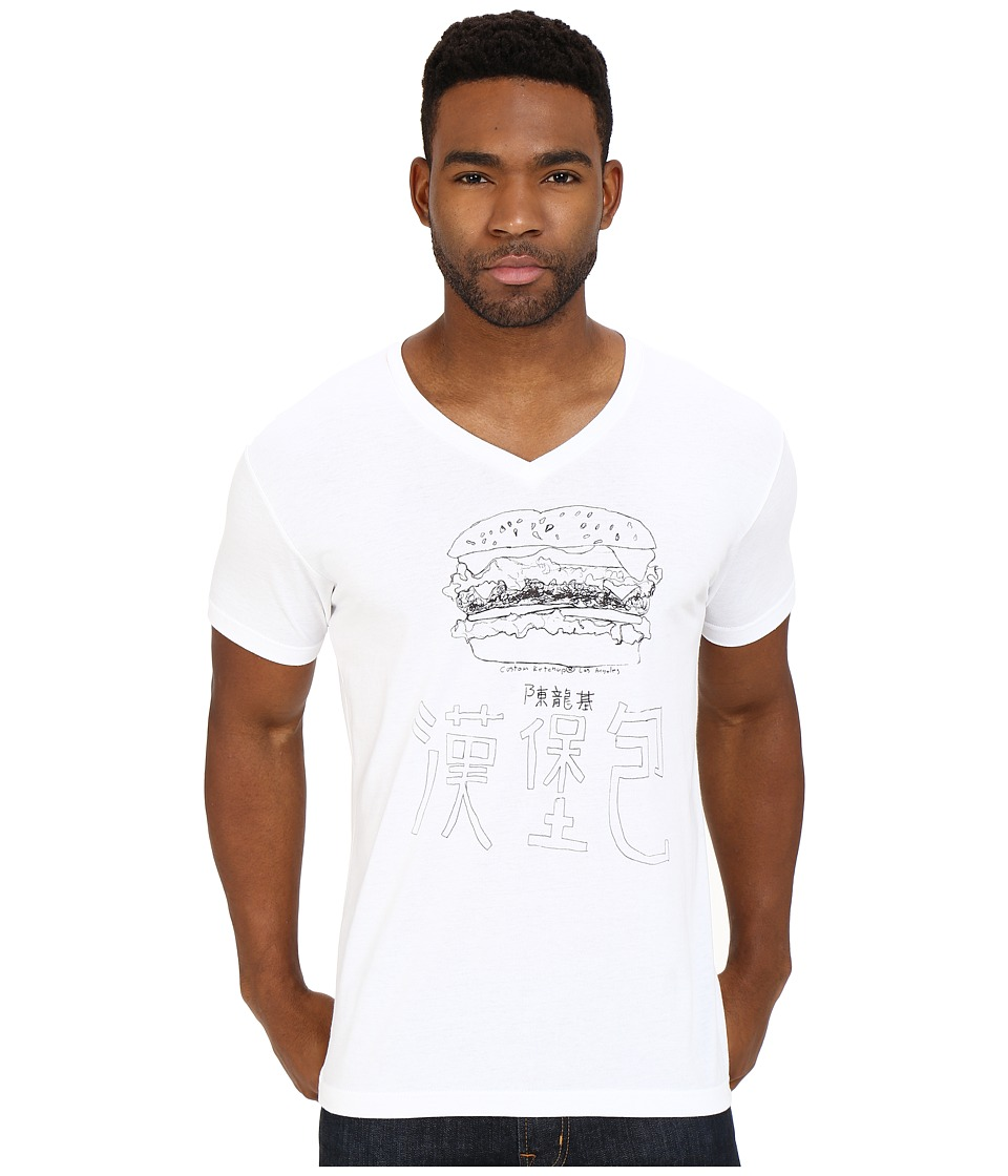 Custom Ketchup - Burger V-Neck (White) Men's Clothing