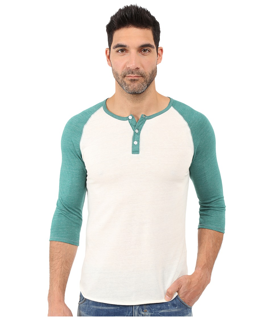 Alternative - Raglan Henley (Eco Ivory/Eco True Aqua Teal) Men's Clothing