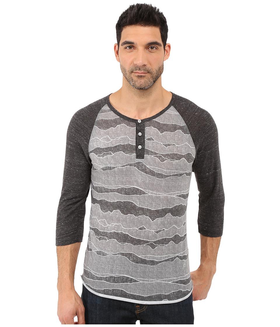 Alternative - Printed 3/4 Raglan Henley (Black Ridge/Eco Black) Men's T Shirt
