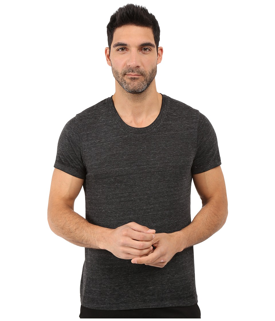 Alternative - Eco Jersey Burnout Drop Neck Crew (Black Burnout) Men's Clothing