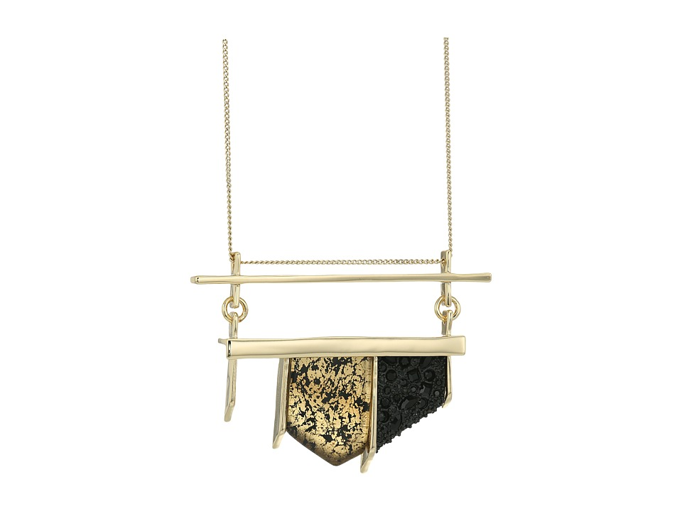 Alexis Bittar - Crystal Encrusted Matte Black Pendant Necklace (Antique Gold) Necklace