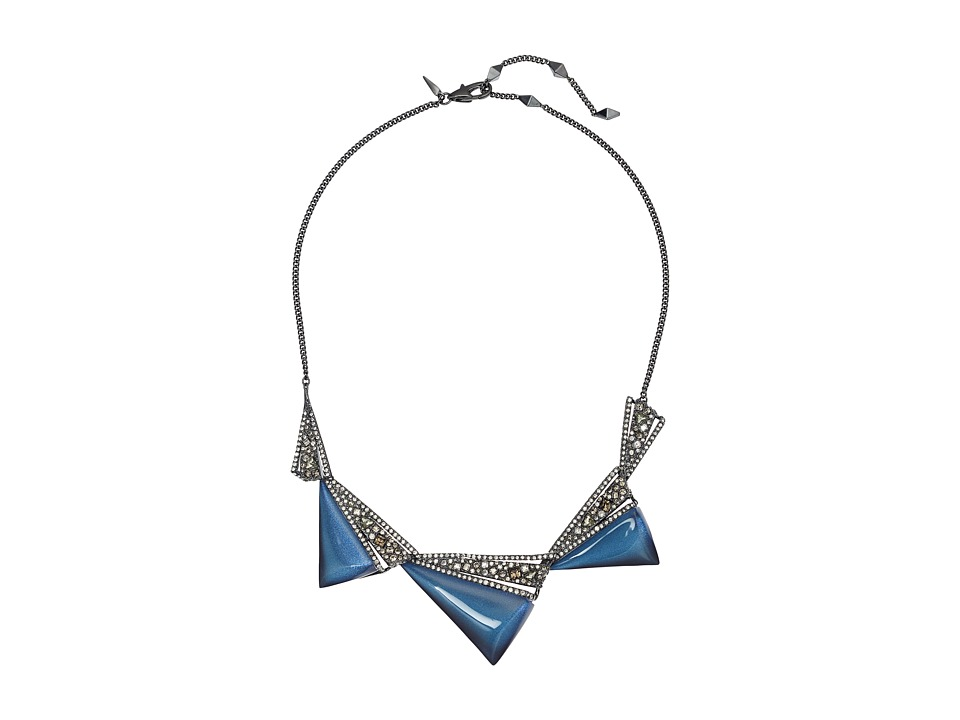Alexis Bittar - Crystal Encrusted Graduated Origami Bib Necklace (Blue Velvet) Necklace