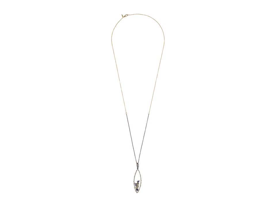 Alexis Bittar - Crystal Encrusted Spike Accented Gemstone Cluster Pendant Necklace (Ruthenium/10K Gold) Necklace