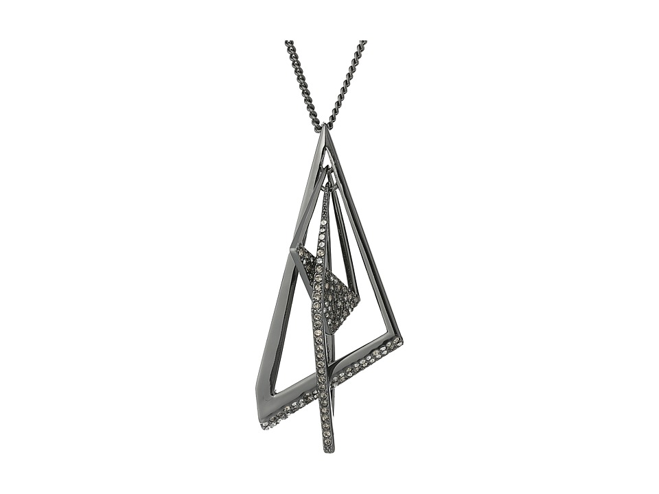 Alexis Bittar - Crystal Encrusted Origami Mobile Pendant Necklace (Ruthenium) Necklace
