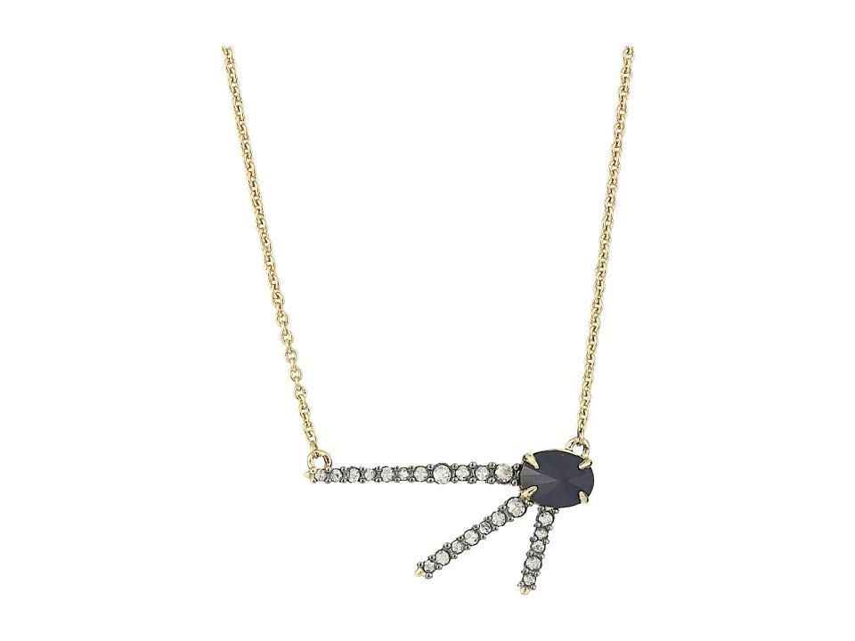 Alexis Bittar - Crystal Encrusted Spur Pendant Necklace (Ruthenium/10K Gold) Necklace