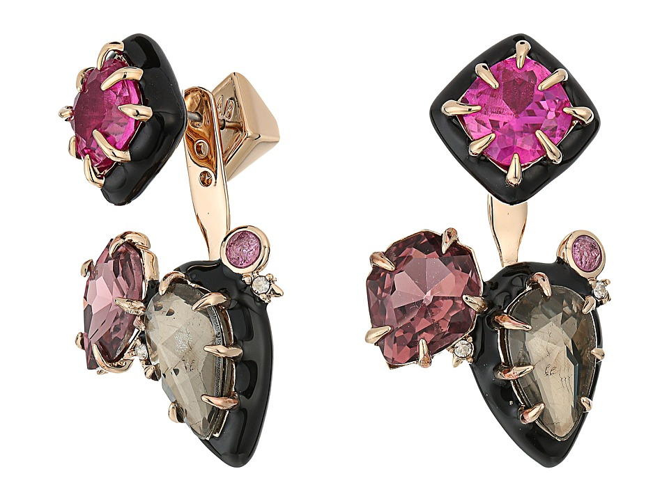 Alexis Bittar - Custom Gemstone Stud w/ Removable Ear Jacket Earrings (10K Gold/Black Enamel) Earring