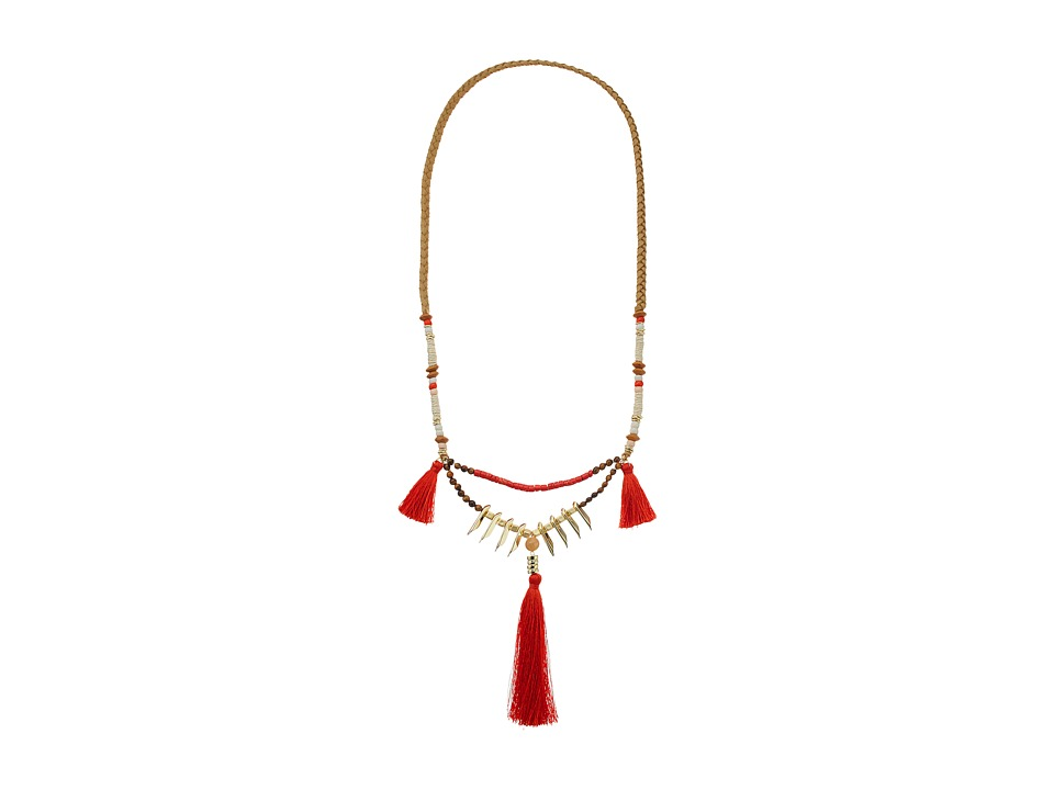 French Connection - Triple Tassel Pendant Necklace (Gold/Red/Orange) Necklace