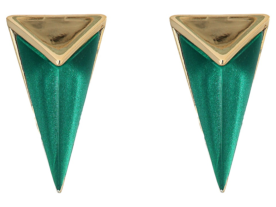 Alexis Bittar - Faceted Pyramid Post Earrings (Jungle Green) Earring