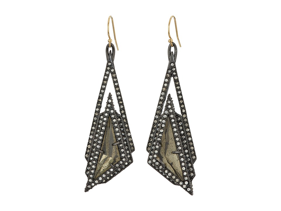 Alexis Bittar - Crystal Stepped Fancy Pyramid Wire Earrings (Ruthenium) Earring