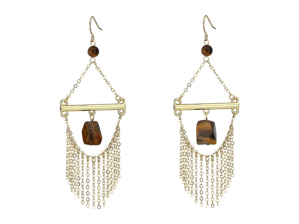 French Connection - French Wire Trapeze Link with Chain Fringe and Tigerseye Chandelier Earrings (Gold/Tigerseye) Earring
