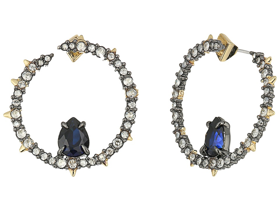Alexis Bittar - Crystal Encrusted Front Facing Hoop Earrings (Ruthenium/10K Gold) Earring