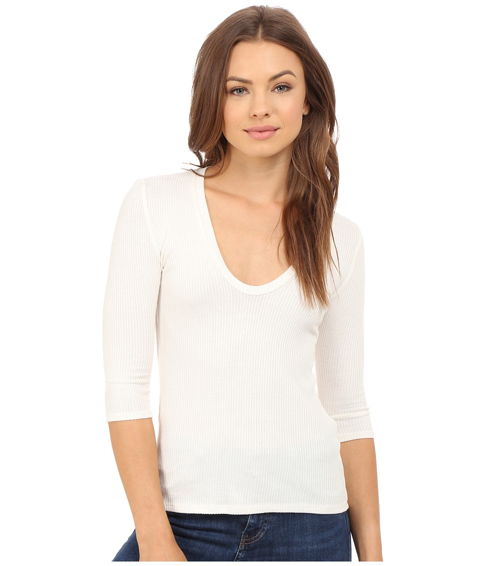 Project Social T - 3/4 Sleeve Retro Scoop Top (Ivory) Women's T Shirt