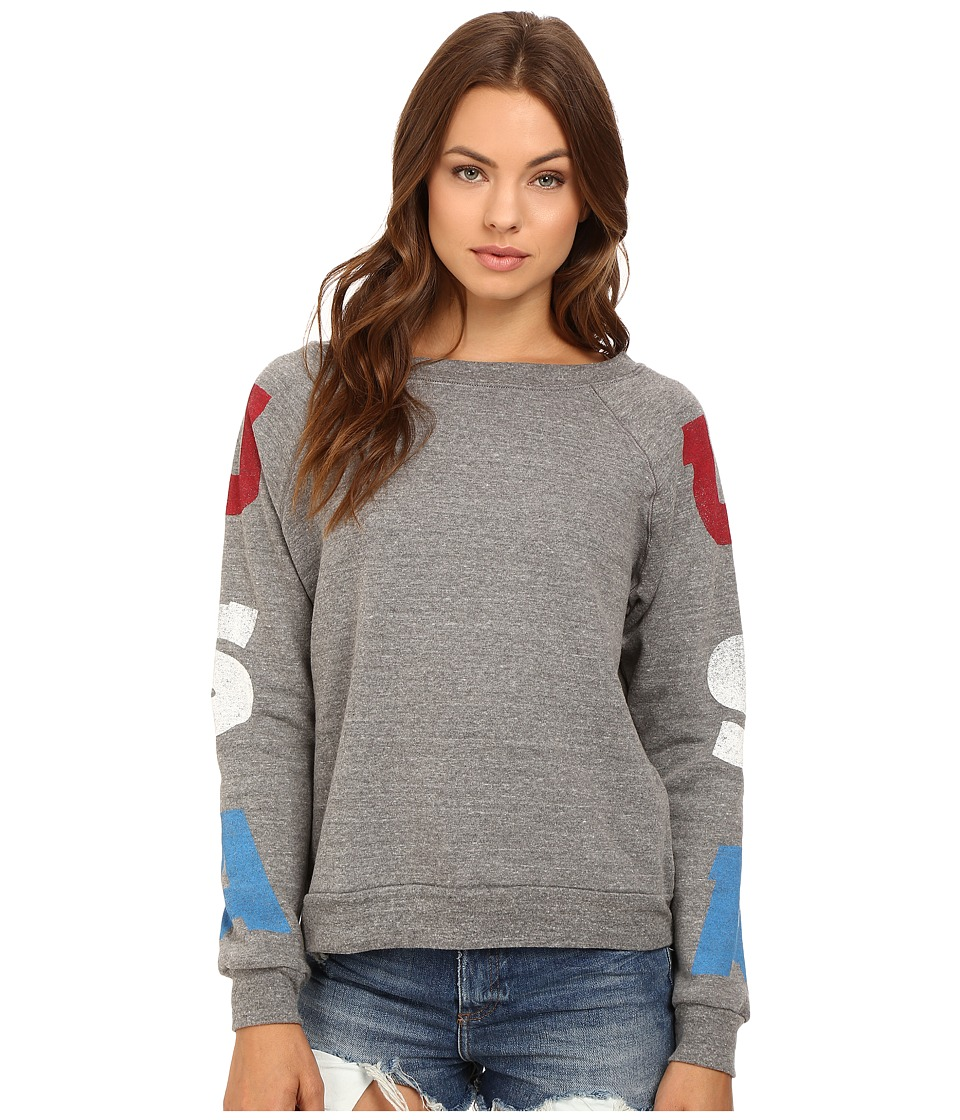Project Social T - USA Sleeve Sweatshirt (Heather Grey) Women's Sweatshirt