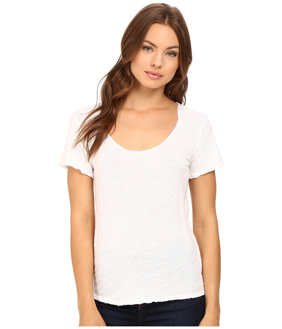 Project Social T - Scooped Linen Tee (White) Women's T Shirt