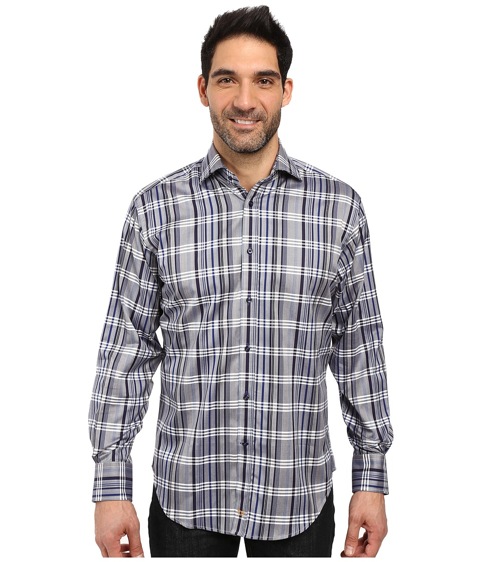 Thomas Dean & Co. - Long Sleeve Woven Grid Plaid (Cobalt) Men's Clothing