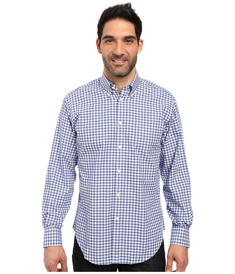 Thomas Dean & Co. - Long Sleeve Woven Tattersal Button Down (Blue) Men's Long Sleeve Button Up