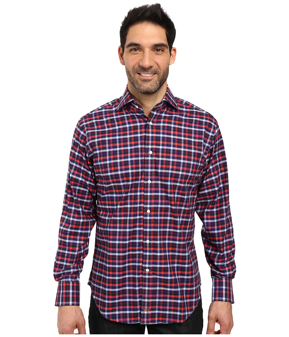 Thomas Dean & Co. - Long Sleeve Woven Multi Plaid (Red) Men's Clothing