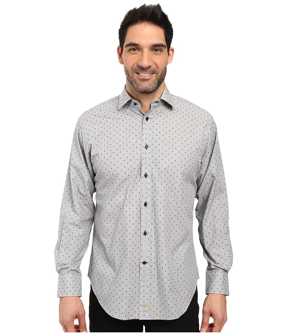 Thomas Dean & Co. - Long Sleeve Woven All Over Dot (Grey) Men's Clothing