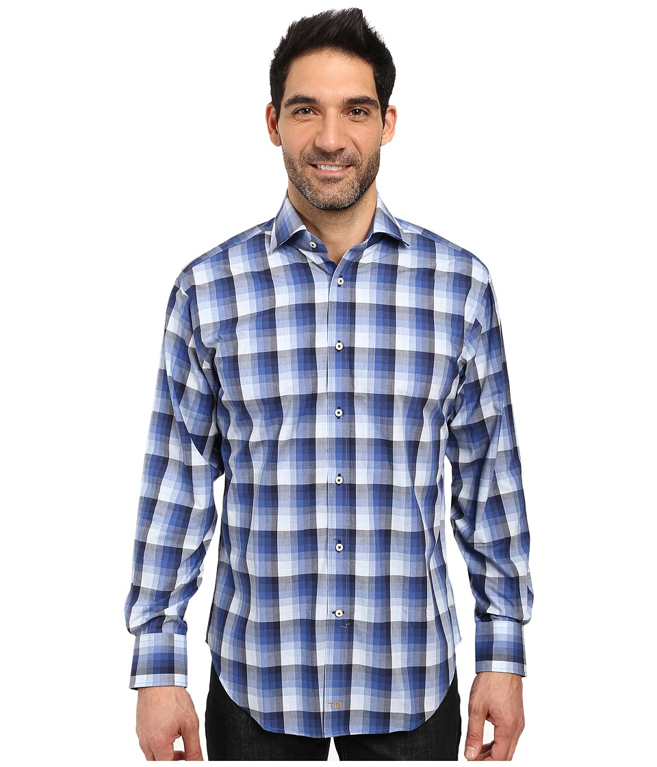 Thomas Dean & Co. - Long Sleeve Woven Shadow Plaid (Blue) Men's Clothing
