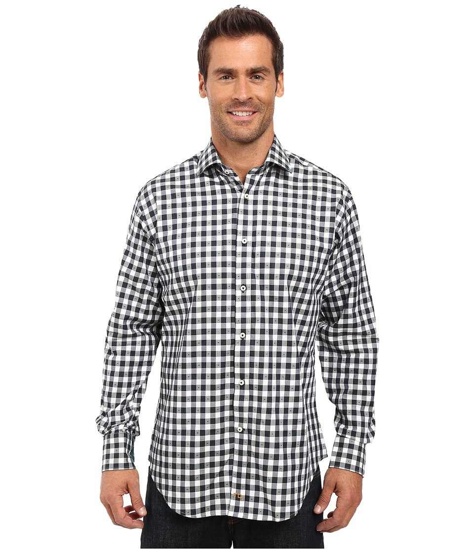 Thomas Dean & Co. - Long Sleeve Woven Shirt Large Check (Hunter) Men's Long Sleeve Button Up