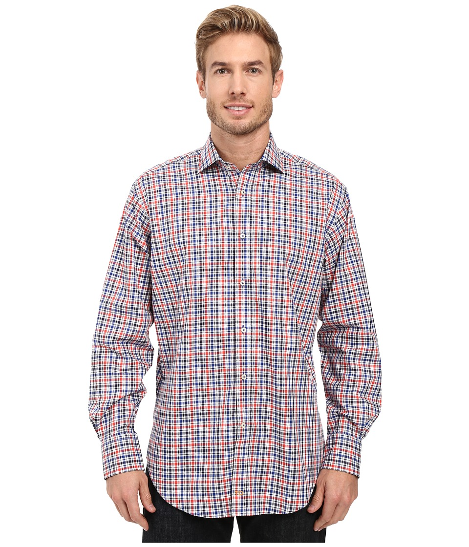 Thomas Dean & Co. - Long Sleeve Woven Shirt Dobby Check (Royal) Men's Long Sleeve Button Up
