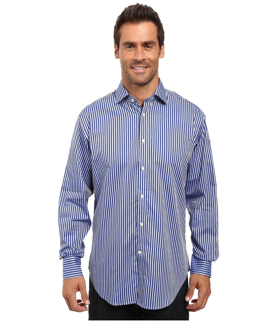 Thomas Dean & Co. - Long Sleeve Woven Shirt Textured Stripe (Blue) Men's Long Sleeve Button Up