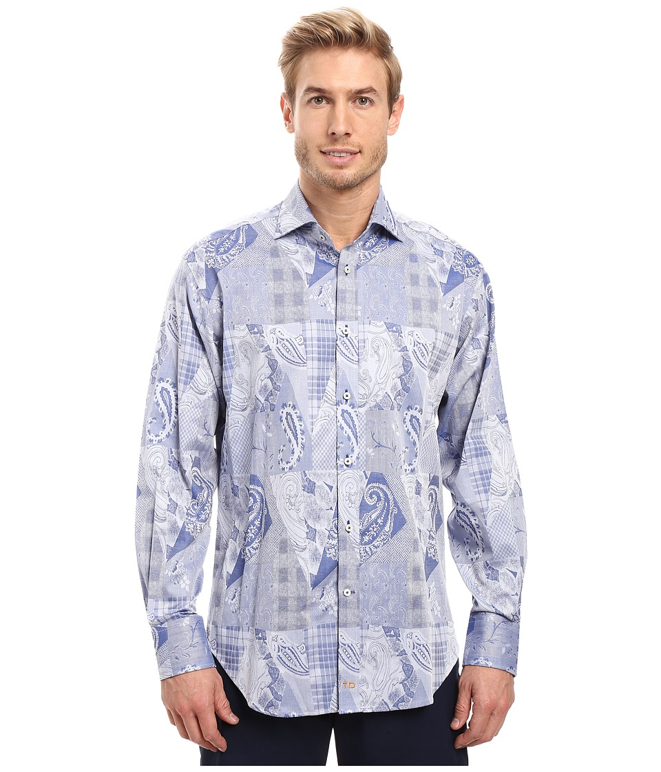 Thomas Dean & Co. - Long Sleeve Woven Paisley Jacquard (Blue) Men's Clothing