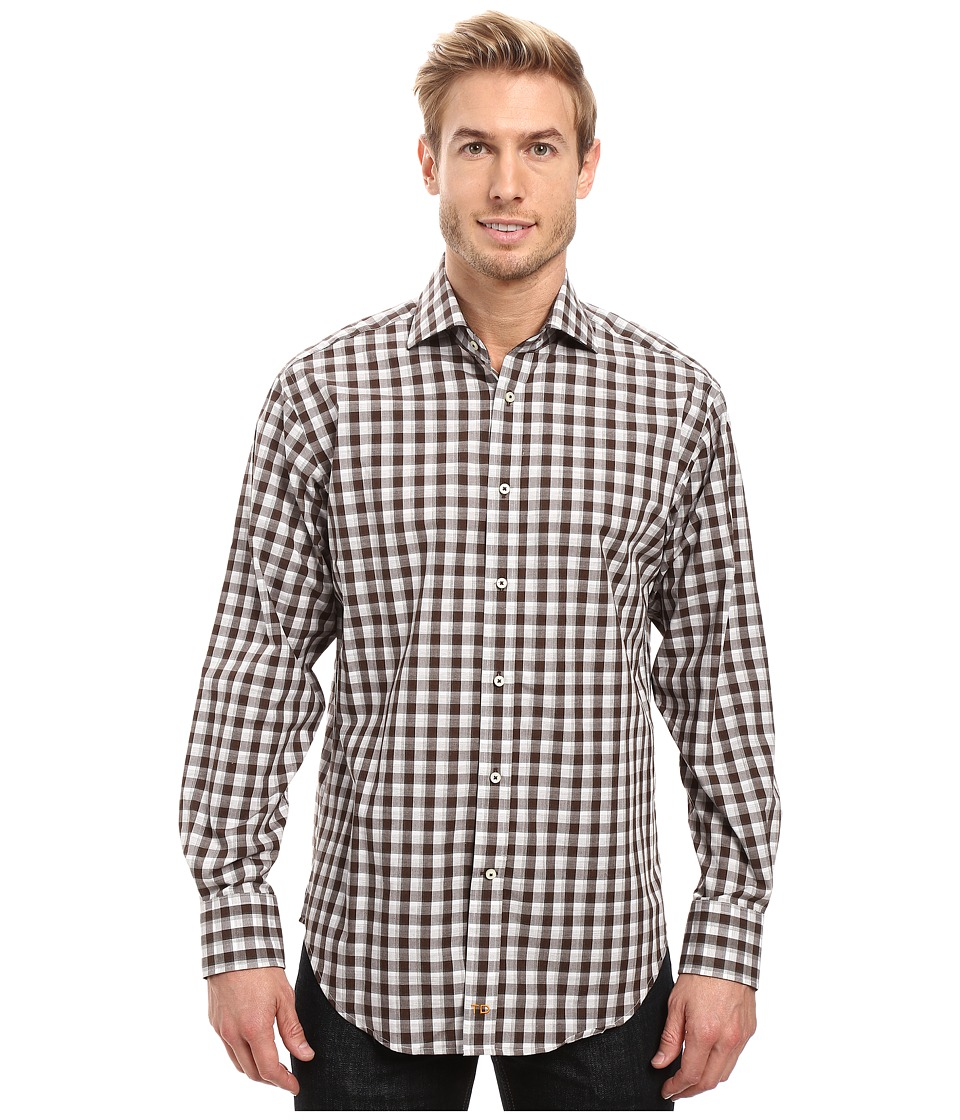 Thomas Dean & Co. - Long Sleeve Woven Shadow Check (Grey) Men's Clothing