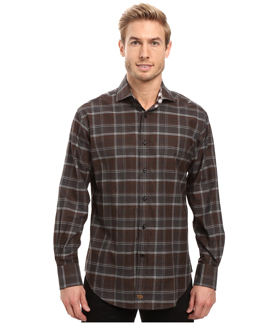 Thomas Dean & Co. - Long Sleeve Woven Twill Plaid (Grey) Men's Clothing
