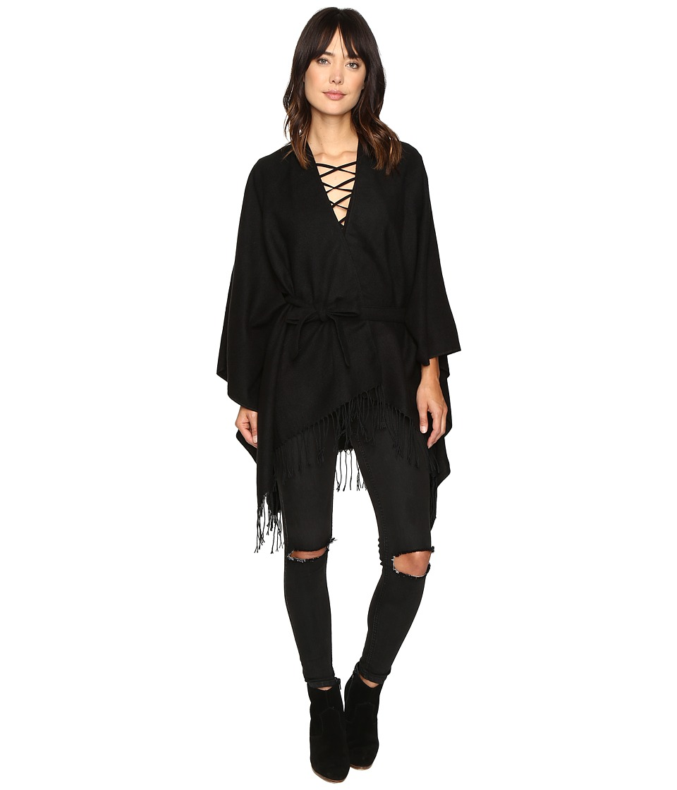 ONLY - Sigrid Weaved Poncho (Black) Women's Sweater