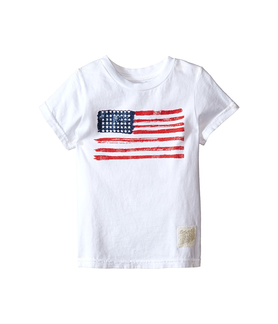 The Original Retro Brand Kids - Vintage Cotton Short Sleeve American Flag Tee (Little Kids/Big Kids) (White) Boy's T Shirt