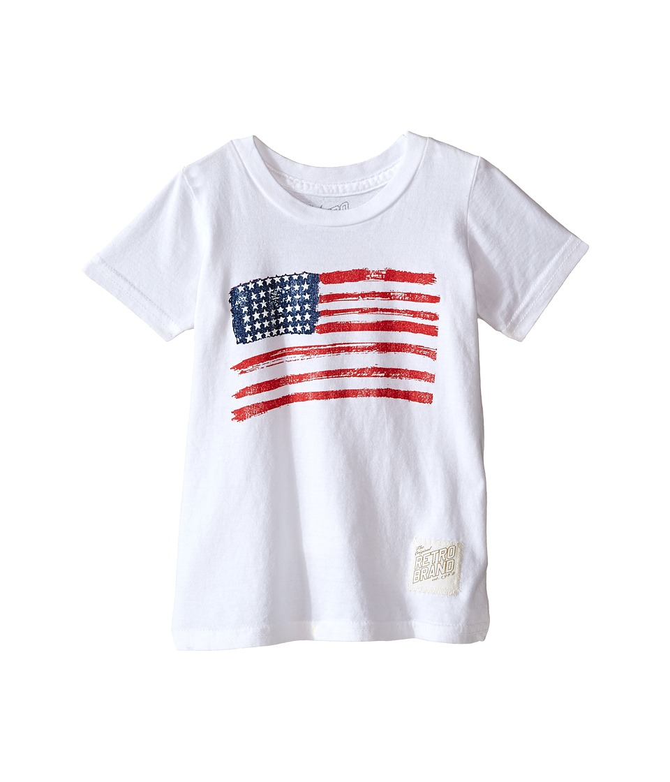 The Original Retro Brand Kids - Vintage Cotton Short Sleeve American Flag Tee (Toddler) (White) Boy's T Shirt