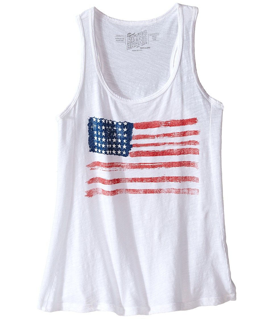 The Original Retro Brand Kids - Cotton Racerback Flag Tank Top (Little Kids/Big Kids) (White) Girl's Sleeveless