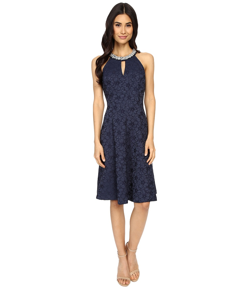 London Times - Flower Jacquard Fit Flare Dress (Navy) Women's Dress