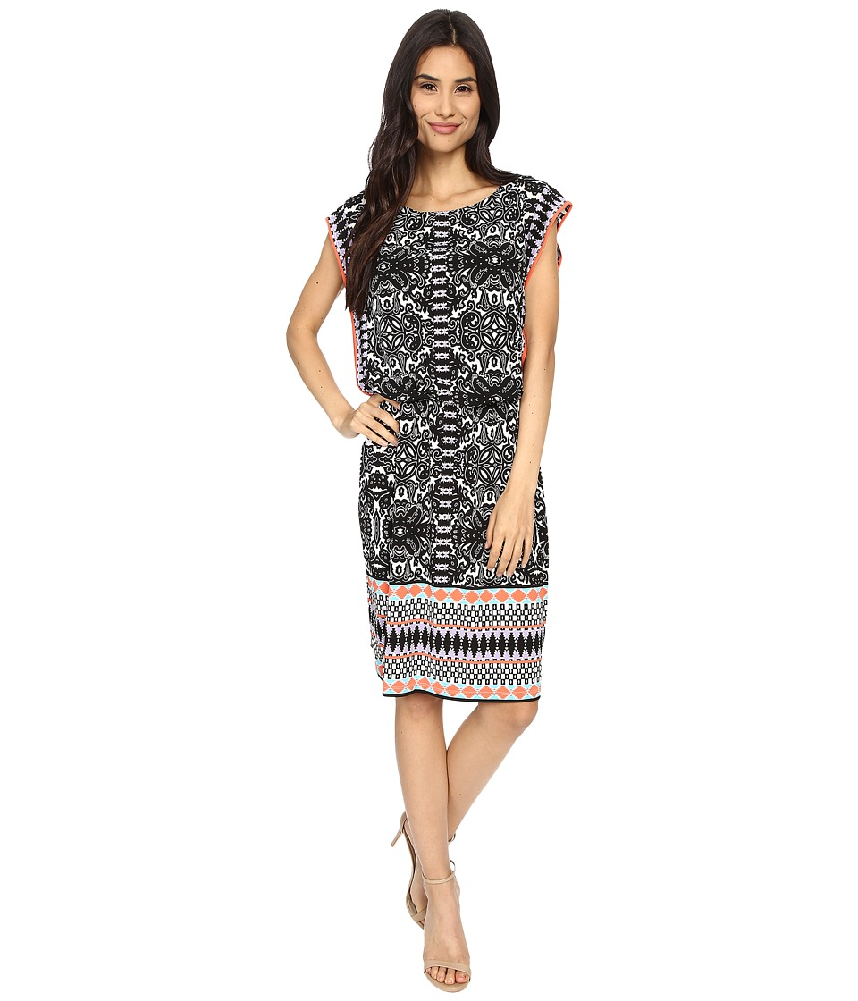 London Times - Imperial Scroll Border Blouson Dress (Black/Sheer Lilac) Women's Dress
