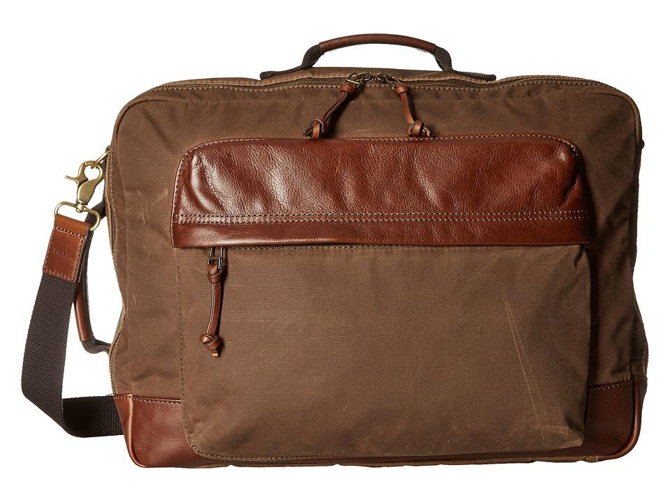 Fossil - Defender Canvas Backpack Work Bag (Brown) Backpack Bags