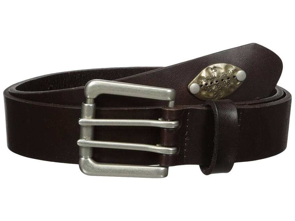 Scotch & Soda - Classic Belt in Suede Quality with Metal Stud Detail (7 Brown) Men's Belts