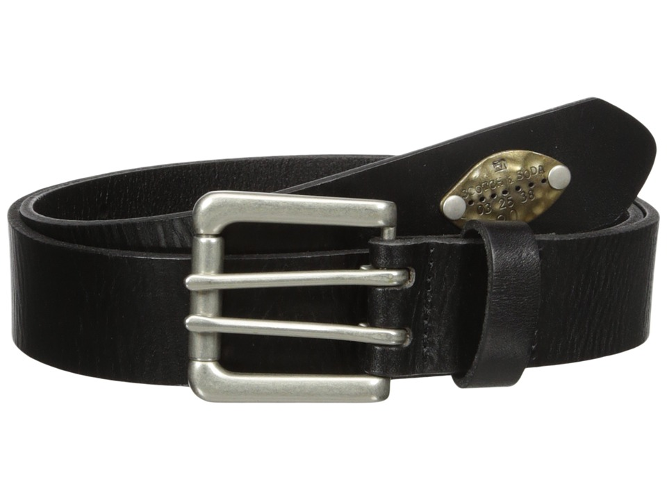 Scotch & Soda - Classic Belt in Suede Quality with Metal Stud Detail (8 Black) Men's Belts