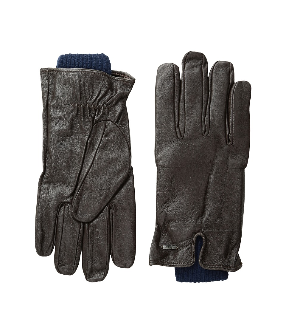 Scotch & Soda - Double Layer Gloves in Leather and Wool Quality (Dessin 2C) Extreme Cold Weather Gloves