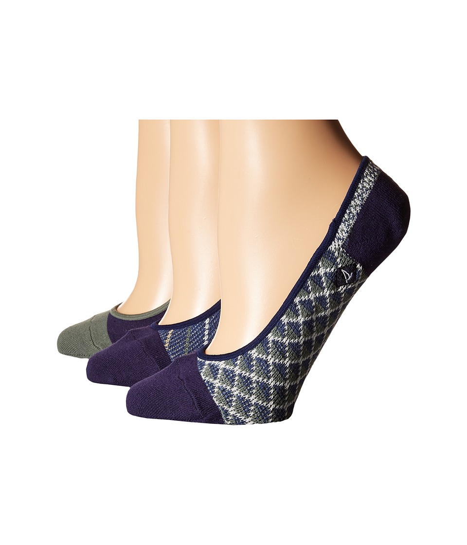 Sperry Top-Sider - Micro Skimmer Jacquard Liner 3-Pack (Blue) Women's No Show Socks Shoes